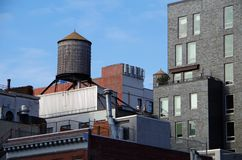 New York City roof top water tower. Cityscape royalty free stock photos