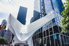 New York City`s Oculus. The Oculus seen outside of the Word Trade Center on a sunny day Royalty Free Stock Photography
