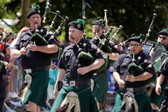 New York City Sanitation Department Bagpipe Marching Band Stock Images