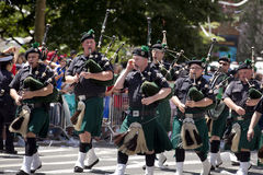 New York City Sanitation Department Bagpipe Marching Band Stock Image