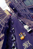 New York City Scene. Streets of New York with bright yellow cab royalty free stock images