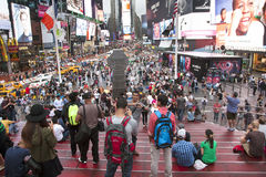 New york city, 12 september 2015: crowd on duffy square in new y royalty free stock image