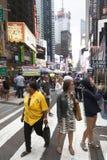 New York City 12 september 2015: folkmassa på marknad i New York ci Arkivbilder
