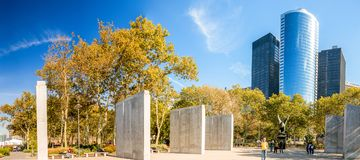 NEW YORK CITY - SEPTEMBER 12, 2015: Tourists visit Battery Park Stock Photos