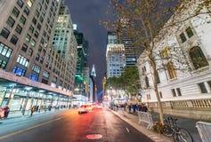 NEW YORK CITY - SEPTEMBER 2015: Traffic in the city at night. Ne Stock Images