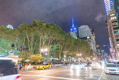 NEW YORK CITY - SEPTEMBER 2015: Traffic in the city at night. Ne Royalty Free Stock Images