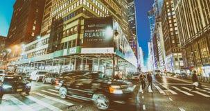 NEW YORK CITY - SEPTEMBER 2015: Traffic in the city at night. Ne Royalty Free Stock Photo