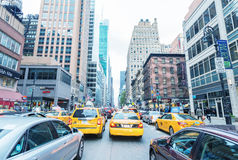 NEW YORK CITY - SEPTEMBER 12, 2015: Traffic jam in Manhattan. Tr Stock Images