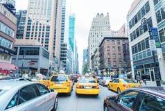 NEW YORK CITY - SEPTEMBER 12, 2015: Traffic jam in Manhattan. Tr Stock Images