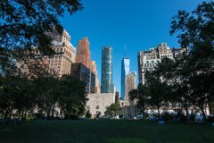 One World Trade Center from Battery Park royalty free stock image