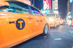 NEW YORK CITY - SEPTEMBER 20, 2015: Yellow cabs in Manhattan. Ta Stock Images