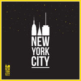 New York City sign,  illustration, silhouettes of skyscrapers Royalty Free Stock Photography