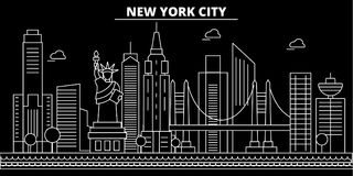 New York City silhouette skyline. USA - New York City vector, american linear architecture, buildings. New York City royalty free illustration