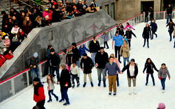 New York City: Skaters at Rockefeller Center Rink Royalty Free Stock Photos