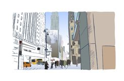 New york city sketch street illustrator watercolor vector illustration