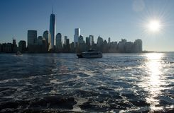 New york city sky line. In the morning sun rise Stock Photo