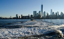 New york city sky line. In the morning sun rise Stock Images
