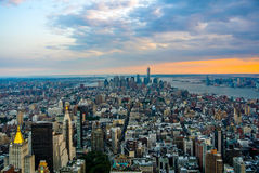 New York City. Sky view of New York City at sunset Royalty Free Stock Photo