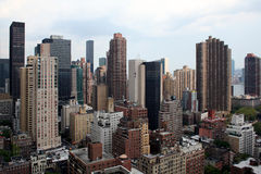 New York City Skyline. Crisp wide-angle shot of one numerous skyscrapers in New York City Royalty Free Stock Photos