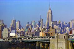 New York City Skyline USA. New York City and Empire State Building basks in late afternoon sun royalty free stock photos