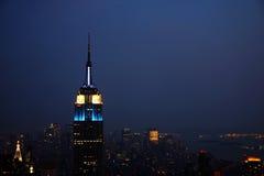 New York City skyline. On a stormy and misty night Royalty Free Stock Image