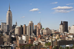New York City Skyline. New York cityscape with apartments and office buildings. The Empire State building is visible in the background. Horizontal shot Stock Photo