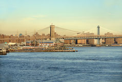 New York City Skyline. Part of the New York City skyline including the Brooklyn Bridge and Lower Manhattan as seen from the Staten Island Ferry Royalty Free Stock Photos