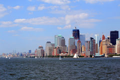 New York city skyline. Scenic view of Lower Manhattan skyline and waterfront with One World Trade Center under construction viewed from harbour, New York City Royalty Free Stock Photography