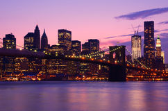 New York City Skyline. The skyline of downtown Manhattan and the Financial District behind Brooklyn Bridge in New York, New York Stock Photography