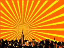 New york city skyline. Vector part of NYC with sunburst Royalty Free Stock Image