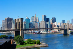 New York City Skyline. With Brooklyn Bridge on a sunny day stock image