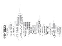 New York city skyline. Abstract illustration of the skyline of New York city on a white background, USA Royalty Free Stock Photo