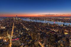 New York City skyline aerial panorama view at night with  Times Stock Image