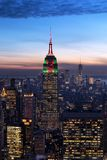 New York City skyline aerial panorama view at night with  Times Royalty Free Stock Images