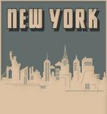 New York City Skyline Art Deco Style Vintage Retro. Big Apple old card logo stock illustration