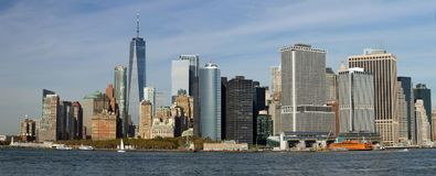 New York City Skyline as seen from Governors Island. New York City Skyline as viewed from Governors Island on a sunny day Stock Photos
