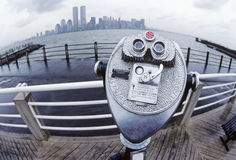 New York City Skyline with binocular viewer. New York City World Trade Center rising above skyline seen from New Jersey Stock Photos