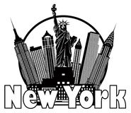 New York City Skyline Black and White Circle Vector Illustration Royalty Free Stock Images