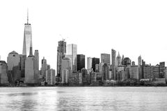 New York City Skyline in Black and White. View from Liberty State Park Royalty Free Stock Photo