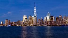 New York City Skyline during the blue hour Royalty Free Stock Photography