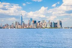New York City Skyline. With blue sky and blue water Royalty Free Stock Photography