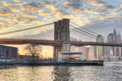New York City Skyline and Brooklyn Bridge royalty free stock image