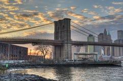 New York City Skyline and Brooklyn Bridge Stock Photos