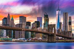 New York City Skyline. With the Brooklyn Bridge and Financial district on the East River Stock Photos