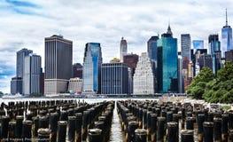 New York City Skyline from Brooklyn. Skyscrapers in lower Manhattan Stock Photos