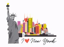 New york city vector illustration. usa manhattan skyline. modern city design. urban architecture . New York City Skyline Design Concept With City Silhouette vector illustration