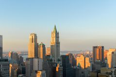 New York City Skyline. Of downtown Manhattan in the Financial District Royalty Free Stock Photo