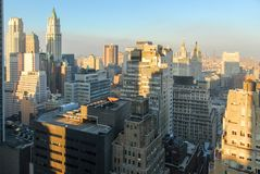 New York City Skyline. Of downtown Manhattan in the Financial District Stock Images