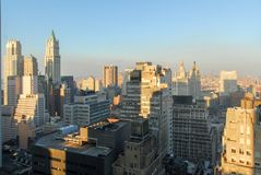 New York City Skyline. Of downtown Manhattan in the Financial District Stock Image