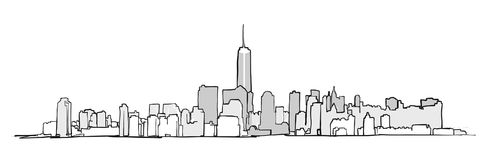 New York City Skyline Drawing. Vector Concept Illustration for Banner infographic and marketing stock illustration